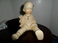 VTG Rare Antique German Bisque Porcelain Piano Baby Girl~Teddy Bear Figurine