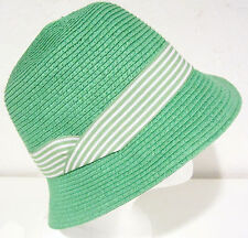 August Accessories Straw Bucket Hat One Size bright pastel green NEW