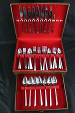 Stanley Roberts Heavy Retro Mod Stainless Flatware Set w/Case Japan Serves 7