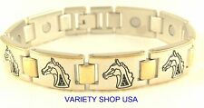 Horse Two Tone Magnetic Link Therapy Bracelet 27,000 Gauss A7075