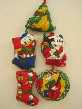 Set of 5 Vintage Stuffed Fabric DISNEY Christmas Ornaments DONALD MICKEY GOOFY