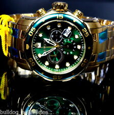 Mens Invicta Pro Diver Scuba Gold Plated Green Chronograph Swiss Parts Watch New