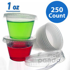 250ct 1oz Jello Jelly Shot Souffle Portion Cups with 250ct Lids, Clear Plastic