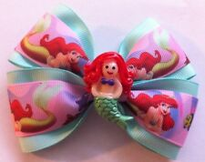 "Girls Hair Bow 4"" Wide Ariel Little Mermaid Mint Green Grosgrain Alligator Clip"
