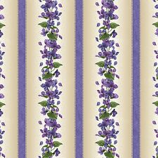 Lavender Stripe Arabella Beaves Floral Quilt Fabric by the 1/2 yd
