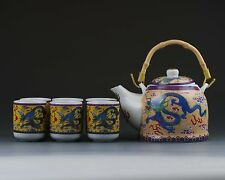 Chinese Famille Rose Porcelain Hand-painted Dragon Tea Pot Cup Plate Set