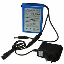 DC 12V 3000mAh 2A Super Rechargeable Protable Li-ion Battery + US Plug For CCTV