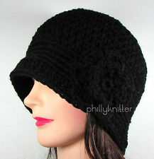 Womens Hand Crochet Cloche Flapper Style Beanie Hat Black With Flower Acrylic