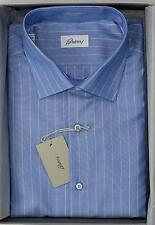 Brioni NWT 100% Cotton Blue Thin White Striped Hand Made Men's Dress Shirt 38 15