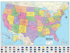 2015 United States Wall Map Paper Poster USA POLITICAL FLAGS - NEW X-Large 48x36