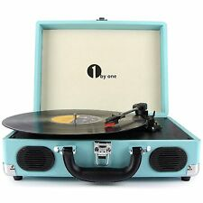 Vintage Vinyl Turntable Stereo Portable Record Player USB RCA MP3 Turquoise