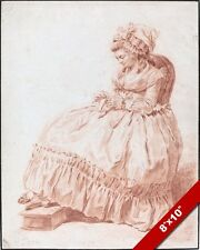 1700'S WOMAN IN LARGE DRESS SEWING RED CHALK PAINTING ART REAL CANVAS PRINT