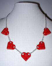 FIVE LEGO RED HEART SILVER NECKLACE GREAT GIFT FOR VALENTINE DAY GIRLFRIEND MOM