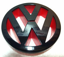 NEW BLACK & RED GLOSS VW GOLF MK5 Front Bumper Badge Grille Petrol Diesel 125mm