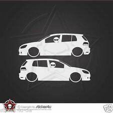 (834) 2x Low and Slow VW Golf 6 / Sticker Aufkleber  DUB VAG Stickerbomb