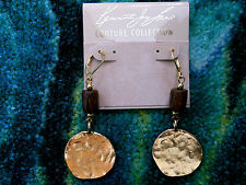 Kenneth Jay Lane Wood Satin Gold Hammered Coin Drop Fishhook Pierced Earrings