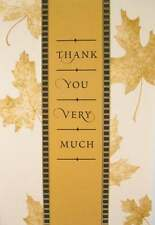 Thank You Braille Added Greeting Card Thank You Very Much -- Gold leaves  TY010