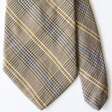 Brooks Brothers Brown Black Plaid Blue Yellow Accent Tie Silk Cotton USA