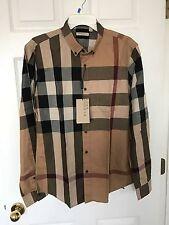 BURBERRY Brit Camel Check Plaid Casual Dress Slim Fit Men's Shirt Size Small