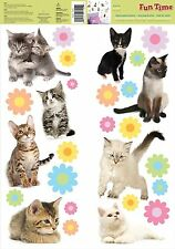 KITTENS 27 Wall Stickers Kids Bedroom Decorations Room Decor Cat Flower Decals
