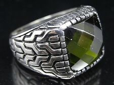 Turkish Handmade  925 Sterling Silver Peridot Mens Ring Sz 10.50 Free Resize