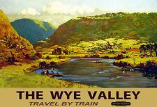 Wye Valley otoño viajar en tren ferrocarriles cartel impresión de viaje ferroviario británico