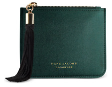 MARC JACOBS DECADENCE Green Pouch Satin like Makeup Bag Travel Case Clutch New