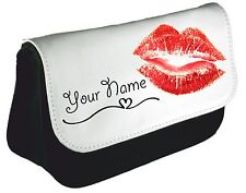 Personalised girls ladies Cute Kiss Pencil Case make up bag school xmas Birthday