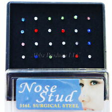 24pc lot Mixed color Steel Nose Stud Jewelry set bone ring body ear Piercin