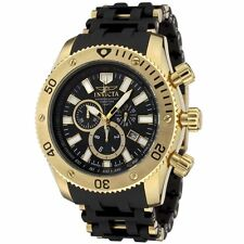Invicta 0140 Men's Sea Spider Chronograph Gold Plated Black Polyurethane Watch