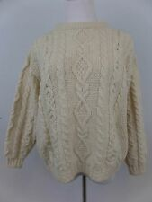L.L. Bean Irish Style Cable Knit 100% Wool Sweater Pullover Cream Womens Medium