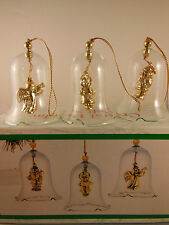 "Crystal Holiday Bell Set with Gold Figures 2.75"" to 3"" MIB"