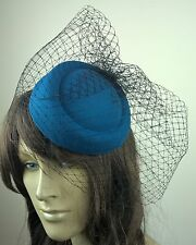 turquoise felt mini pill box hat black veiling french veil fascinator wedding