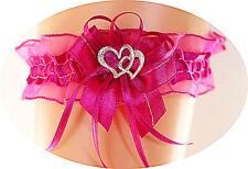 Strumpfband Braut rosa pink mit Schleife Herzchen Silbernaht Hochzeit EU