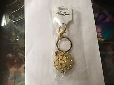 FLORAL GOLD TONE CRYSTAL BLING KEYRING KEY CHAIN GIFT FASHION NEW