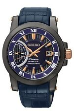 New Seiko SRG012 Premier Kinetic Stainless Steel Black Ion Men's Watch