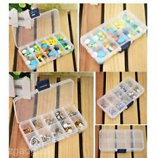 10 Grids Ornament Jewellery Small Part Organizer Storage Box Transparent Case