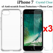 x3 Apple iPhone 7 4H anti-scratch front screen protector and clear case cover