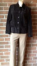 Ann Taylor Petites Suede Leather Shirt Jacket Chocolate Brown 100% Leather MP