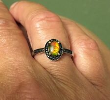 Ammolite & Black Spinel Halo Ring Size 8