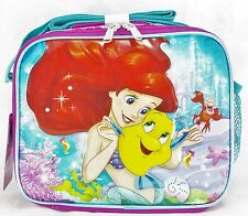 """Disney The Little Mermaid Ariel 9.5"""" Blue & Pink Insulated Lunch Bag"""