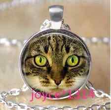Vintage Cat Cabochon Tibetan silver Glass Chain Pendant Necklace #988