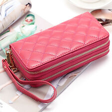 Women's Cowhide Genuine Leather Long Double Zip Plaid Wallet Phone Holder Clutch