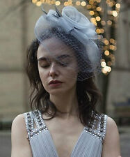 Large Dove Grey Feather Veil Fascinator Net Headpiece Hair Comb Birdcage Vtg R35