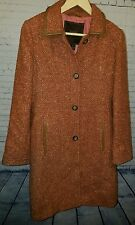 Coach Houndstooth Red Tan Pink Trench Coat w/ Brown Leather Trim Small EXCELLENT
