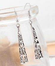 Long Tribal Column Sterling Silver Plated Drop Dangle Earrings Fashion Jewelry