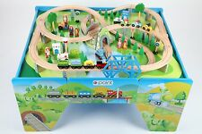 point-kids Wooden railway Set Table + 100 Pieces Train Complete SET new wood