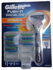 Gillette Fusion Proglide Power Razor Flexball + 5 Free Blades Best Shave