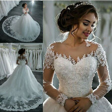 Custom Arabic Princess Wedding Dresses Ball Gown Long Sleeves Bridal Dresses
