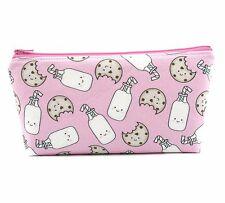 Cosmetic Bag, Zip Pouch, Makeup Bag, Pencil Case, Bag  - Pink Milk and Cookies